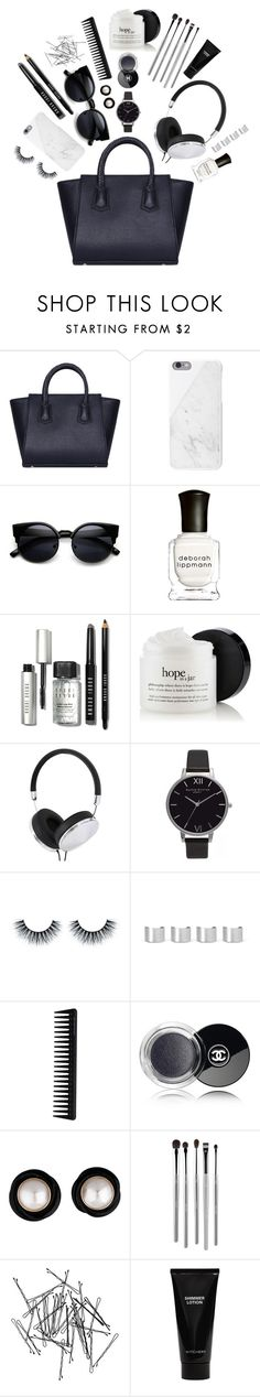 """Tote Bags - BLK"" by bechs ❤ liked on Polyvore featuring Native Union, Deborah Lippmann, Bobbi Brown Cosmetics, Frends, Olivia Burton, Maison Margiela, GHD, Chanel, esum and Monki"