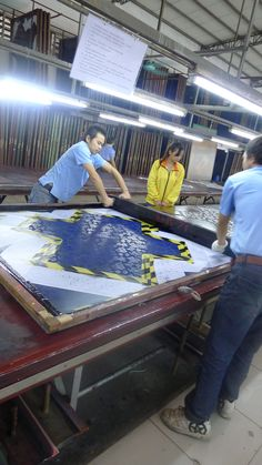 Large scale silkscreening?  Intensive elbow grease!
