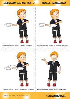 Opdrachtkaarten ober(opleiding) voor kleuters 3, thema restaurant, juf Petra van kleuteridee.nl, Waiter job tickets, Restaurant role play cards 3, free printable.