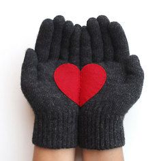 Heart Gloves Dark Gray Red, $30, now featured on Fab.