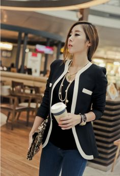 Fabulous Color Splicing Women Blazer Jacket Black on BuyTrends.com, only price $21.00