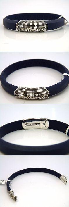 Bracelets 137835: David Yurman Mens 12.8Mm Waves Id Bracelet Blue Rubber Sterling Silver Nwt -> BUY IT NOW ONLY: $350 on eBay!
