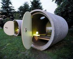 Logeren in een betonnen rioolbuis 1. Dasparkhotel in Ottensheim (Oostenrijk).
