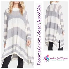 """FREE PEOPLE Tunic Striped Sweater Swing Poncho Top Size XS/S. New with tags. $168 Retail + Tax.  Soft knit tunic. Uneven mock neck with straight sleeves. Loose, oversized silhouette.  Alpaca, nylon.  Imported.  Measurements for XS/S: Bust: 60"""" Length: 31"""" Sleeve: 26""""    ❗️ Please - no trades, PP, holds, or Modeling.    Bundle 2+ items for a 20% discount!    Stop by my closet for even more items from this brand!  ✔️ Items are priced to sell, however reasonable offers will be considered when…"""