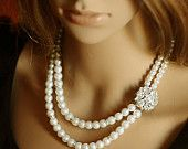 AMOUR, Vintage Style Rhinestone and Pearl Bridal Necklace, Hollywood Glamour Silver Filigree Crystal Heart Wedding Necklace, White, Ivory. $106.00, via Etsy. Comes great for http://wardrobeshop.com/content/40123-nataya-dress