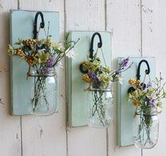 NEW…Rustic Farmhouse… Wood Wall Decor…Individual Hanging Mason Jars…Your… - Home Professional Decoration