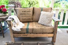 I am truly loving Donna's 2-hour pallet chair. She assures us it's an easy build even for novice woodworkers. To up the funk factor, she chose to simply slip its cushions into  coffee bean burlap sacks--brilliant! Besides the sacks, she used 2 pallets of 'nearly equal size', 4 leg boards (probably 4 x 4's) and 2 arm boards (probably 1 x 6's) to build the chair. The biggest expense for the build was, as you can image, the high density foam for the seat. Visit Funky Junk Interiors to see how…
