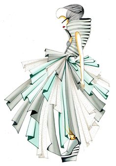What a unique and modern fashion illustration!