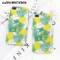 LOVECOM For iPhone 7 6 6S Plus Case Green Palm Leaf & Yellow Pineapple Hard PC Matte Mobile Phone Back Cover Cases Bags Fundas