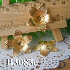 4pcs 27mm raw brass  filigree bead caps Flower Petals by diyla, $2.28
