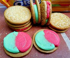 Shock your taste buds with these mind blowing watermelon flavored Oreo cookies from Nabisco. It's everything you love from the classic Oreo cookie, but it features a curious bright pink and green watermelon filling that will be a surefire hit during summer picnics.