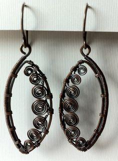 Many spirals - copper earrings