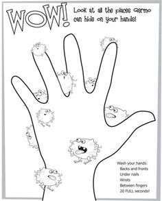 Looking for a Hand Washing Coloring Pages For Kids. We have Hand Washing Coloring Pages For Kids and the other about Emperor Kids it free. Preschool Printables, Kindergarten Worksheets, Preschool Activities, Preschool Worksheets, Hygiene Lessons, Health Lessons, Health Lesson Plans, Germs For Kids, Germ Crafts