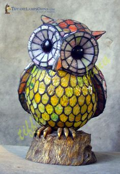 Owl Style Tiffany Lamp - ACL010019 - Tiffany Accent Lamps - Manufacturer of Modern Tiffany Lamps