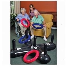 Shop for Jumbo Inflatable Ring Toss at S&S Worldwide. Everyone's a ringer! Everyone's a ringer when playing our jumbo, inflatable, hard-to-miss version of the classic Ring Toss Game! The durable, oversized PVC pieces make success even. Nursing Home Activities, Elderly Activities, Dementia Activities, Senior Activities, Work Activities, Therapy Activities, Physical Activities, Spring Activities, Dementia Crafts