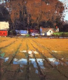 Romona Youngquist - Farm House and Pasture Landscape Artwork, Contemporary Landscape, Abstract Landscape, Building Painting, Cityscape Art, Art Folder, Beautiful Paintings, Art Oil, Painting Inspiration