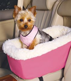 Pet Car Seat: Console Lookout straps securely to the car console while the safety harness keeps your small dog close, but comfortably contained.