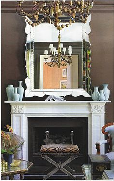 Fireplace + balance of mirror, dark, light