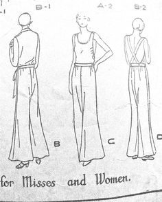 1930s  Beach Pajamas or Misses' Overalls  Butterick by Fancywork