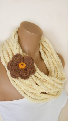 Christmas Ivory Infinity Crochet Scarf With Brown Floral- Loop Scarf- Chunky Scarf- Circle Scarf- Shawl- Cowl- Winter- Handmade Scarf. $22.90, via Etsy.