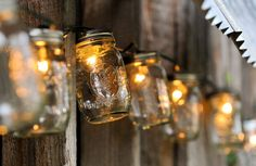Mason jar strand lights are so charming