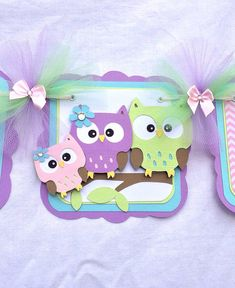 Owl family baby shower banner its a girl por NancysBannerBoutique