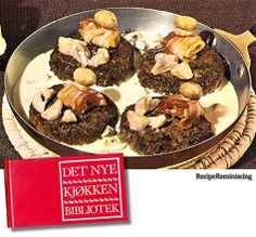 """Hakkebøf á la créme – Danish Creamed Patties - A recipe from """"Det Nye Kjøkken Biblioteket"""" (The New Kitchen Library) published by Gyldendal in 1971 - Ask for """"patties"""" in Denmark and the waiter will look blankly at you, but say """"hakkebøf"""" and he smiles immediately. Hakkebøf á la créme is an old and traditional Danish specialty, one many surely will remember from happy evenings in one of the Tivoli Garden's small cosy taverns."""