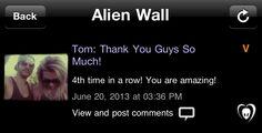 [20.06.2013] Tom: muito obrigado pessoal! Quarta vez consecutiva! Vocês são incríveis! Vocês são incríveis