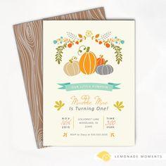 Pumpkin Birthday Invitation - First Birthday Invitation, Our Little Pumpkin, Birthday Invitation, Fall Birthday, Printable Invitation