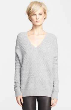 Free shipping and returns on Vince Brick Texture Double V-Neck Sweater at Nordstrom.com. Gentle ribbing finishes the front and back V-neck of a loose-fitting sweater cut from a lustrous blend of wool and cashmere.
