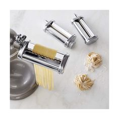 Williams-Sonoma KitchenAid(R) 3-Piece Pasta Roller & Cutter Set ($200) ❤ liked on Polyvore featuring home, kitchen & dining, kitchen gadgets & tools, williams sonoma pasta machine, kitchenaid pasta cutter, stainless steel pasta maker, stainless steel cutter and stainless steel mixer