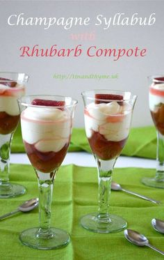Champagne Syllabub with Orange Rhubarb Compote. Champagne Syllabub with Orange Rhubarb Compote. An easy to make luxurious dessert that will make a fitting end to any dinner party. The tartness of the rhubarb contrasts well with the sweet creamy syllabub. Dinner Party Desserts, Great Desserts, Delicious Desserts, Smoothie Drinks, Smoothie Recipes, Smoothies, Dessert Recipes, Other Recipes, Smoothie