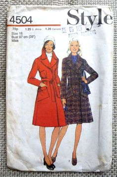 Excited to share the latest addition to my shop: Vintage Coat Sewing Pattern - Style Patterns Coat Pattern Sewing, Vintage Sewing Patterns, Vintage Coat, Belt Tying, Book Photography, Paperback Books, Vintage Paper, Pattern Fashion, Style Patterns