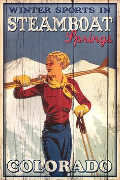 Winter Sports in Steamboat Springs Colorado Ski Art Print Poster in Posters & Prints Steamboat Springs Skiing, Vintage Ski Posters, Retro Posters, Movie Posters, Cities, Steamboats, Look Vintage, Vintage Ads, Poster Prints