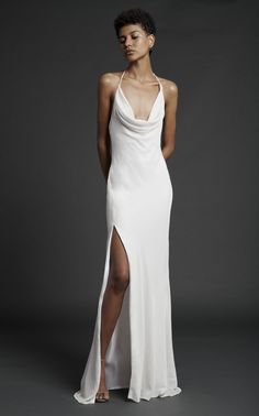 Cushnie Halter Neck Cowl Neck Dress Gown With Thigh Slit Cowl Neck Wedding Dress, Slit Wedding Dress, Cowl Neck Dress, Slit Dress, Tulle Dress, Wedding Dresses, White Satin Dress, Satin Dresses, Trumpet Gown
