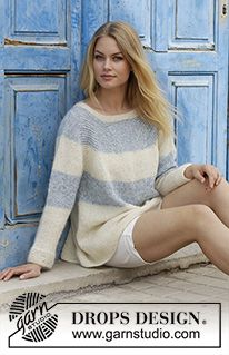 Sailor's Luck / DROPS - Knitted sweater with raglan and stripes, worked top down. Sizes S - XXXL. The piece is worked in DROPS Alpaca and DROPS Kid-Silk. Design alpaca Bente pattern by DROPS design Drops Design, Crochet Shawl Free, Free Knitting, Knit Crochet, Finger Knitting, Knit Cowl, Hand Crochet, Sweater Knitting Patterns, Crochet Patterns