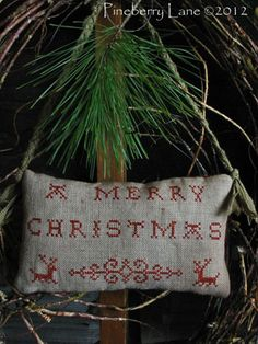 A Merry Christmas Redwork Sampler PATTERN