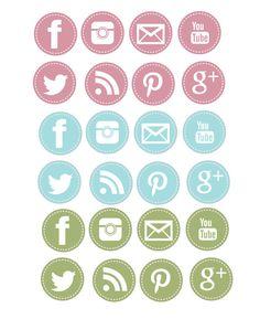 Stitched Social Media Icons Digital Clipart by DesignedIdentity, $6.00