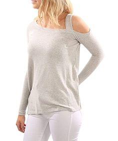 Coutgo Women Sexy Cold Shoulder Long Sleeve Shirts Asymmetrical Hem Sloid  Slim Tops Shoulder Sleeve 01d892e9d