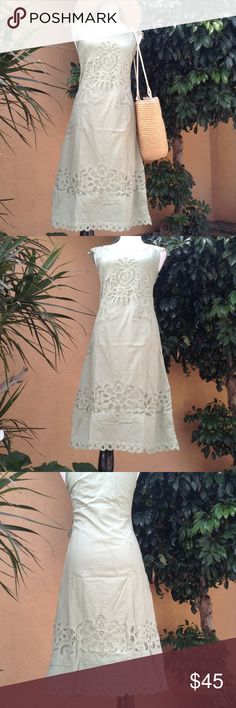 """NWT green cotton embroidery/crotchet midi dress. Beautiful new midi/knee length dress(will come in package. Has embroidery cap sleeves, round neckline, side zipper closure, embroidery on front, back and hemline. Gorgeous for your spring and summer spring brunch, farmers market days or any event really. Color is more like the last three photos. My mannequin measures-34,27,36 Approximate Measurements Armpit to armpit-16.5"""" Waist-15"""" Hips-18"""" Length-43"""" Kroshetta Dresses Midi"""