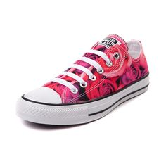 The All Star knows no bounds. From b-ball courts to punk clubs. From skateparks to school yards. The Converse All Star has come a long way, and it's ready to take you even further. The original Old School Chucks never lets up. This exclusive edition Converse All Star Lo features a neon pink rose printed canvas upper and durable rubber outsole. Available only at Journeys and SHI! Please note that this shoe runs a half size large.