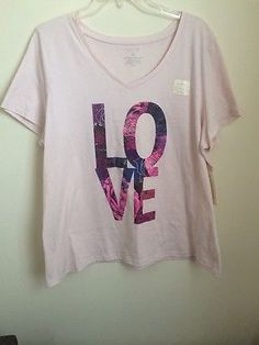 NWT Sonoma Peach Graphic Love Tee Shirt Short Sleeve Plus Size 1X $12.99