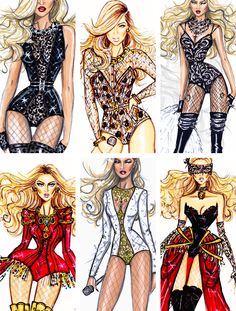 The best of Beyonce's stage outfits by Hayden Williams- http://fashionilluminati.com/hayden-williams-celebrity-fashion-illustrations/