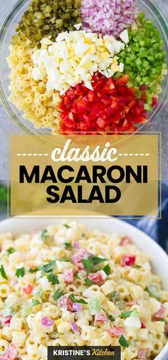Macaroni Salad with egg, sweet pickles and a creamy dressing is a tasty side dish. My best macaroni salad recipe is quick and easy to make! Easy Potluck Recipes, Easy Salad Recipes, Side Dish Recipes, Summer Recipes, Cooking Recipes, Spinach Recipes, Recipe For Summer Salads, Best Bbq Recipes, Best Summer Salads