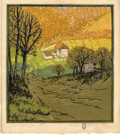 """Gustave Baumann: The way of the Years; color woodcut; 1916; 10-7/8 x 9-7/8"""""""