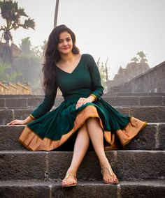 Deep Green Narayanpeth Sari Dress by AadikarInk on Etsy