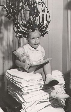 Curls have come a long way.  Next time your little girl complains about doing her hair show her this.  B247