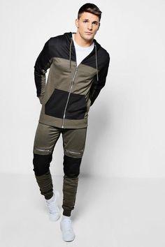 boohoo Skinny Fit Colour Block Biker Tracksuit Color Blocking, Colour Block, Slim Fit Joggers, Gym Essentials, Fashion Face Mask, Sport Wear, Athletic Wear, Skinny Fit, Biker