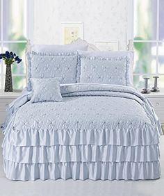 BNF Home 4 Piece Matte Satin Ruffle Quilted Bedspread Set, Queen, Light Blue * Click on the image for additional details.