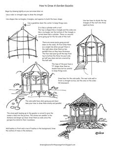 How to Draw Worksheets for The Young Artist: How to Draw a Garden Gazebo Worksheet and Drawing Lesson